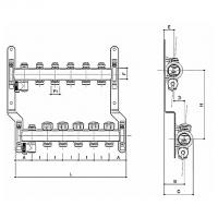 Распределительный коллектор (2 кон.) c термоклапанами и отсекателями