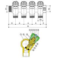Модульный никелированный коллектор из штамрованной латуни с запорными кранами, 4 отвода (24-19)