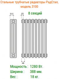 Стальные трубчатые радиаторы отопления РадСтал модель 3100