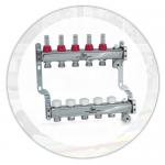 Коллектор из нерж.стали (3 кон.) c термоклапанами и расходомерами