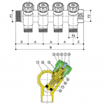 Модульный никелированный коллектор латунь с запорными кранами, 3 отвода 24-19
