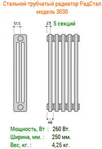 Стальные трубчатые радиаторы отопления Радстал модель 3030